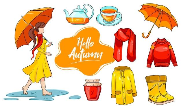 Herbst eingestellt. sammlung von herbstartikeln. ein mädchen mit regenschirm, schal, regenmantel, pullover, gummistiefeln, regenschirm, heißem tee, marmelade. cartoon-stil. vektorillustration für design und dekoration.