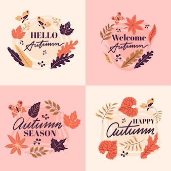 Herbst-etikettenkollektion mit flachem design