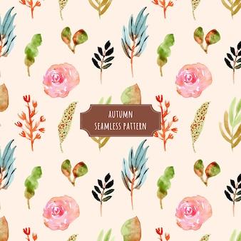 Herbst floral und blätter aquarell nahtlose muster