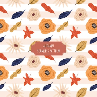 Herbst floral und linie nahtlose muster