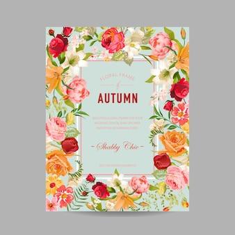 Herbst-fotorahmen mit orchideen- und lilien-blumen. saisonale herbst-designkarte