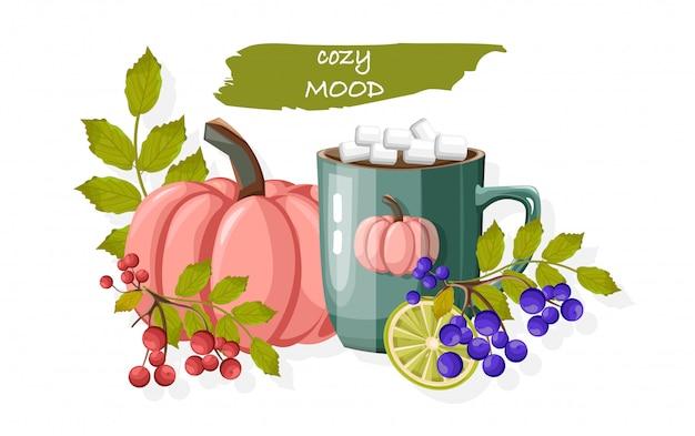 Herbst gemütliche komposition mit tasse heißer schokolade