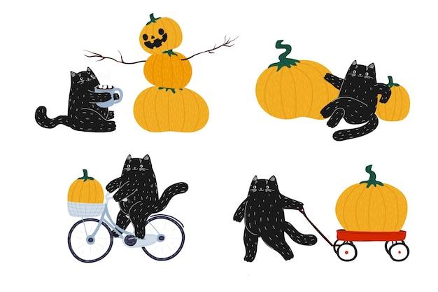 Herbst-halloween-set der schwarzen katze auf dem fahrradkürbis-roter wagen nette kawaii tierernte