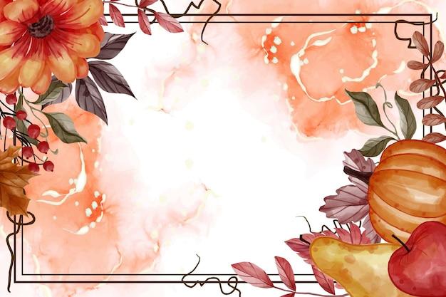 Herbst herbstblatt, kürbis, birne und apfel für den hintergrundblumenrahmen