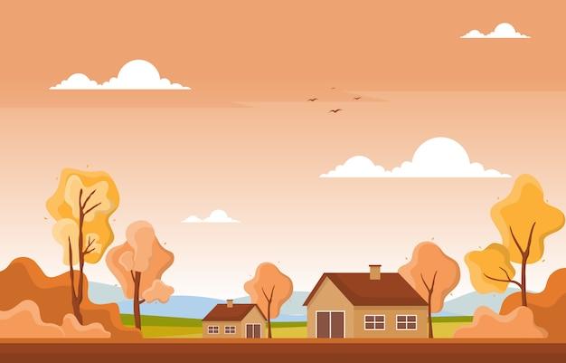Herbst-herbstjahreszeitbaum-goldgelbe naturpanorama-landschaft