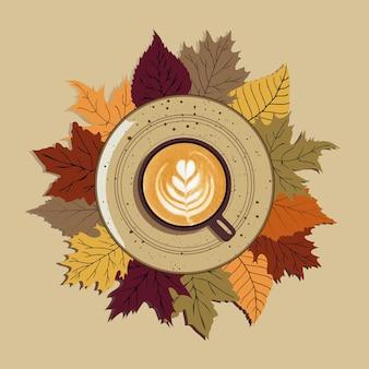 Herbst, herbstlaub, heiße tasse kaffee auf einem teller vor einem hintergrund von blättern. saisonaler morgenkaffee, stilllebenkonzept.