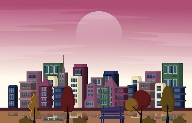 Herbst herbstsaison stadtpark gebäude bäume stadtbild flaches design illustration
