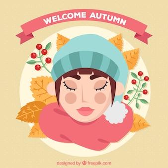 Herbst hintergrund der frau mit geschlossenen augen