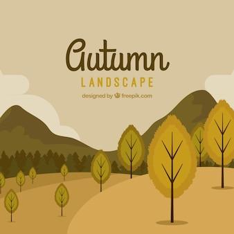 Herbst hintergrund mit bäumen und berge