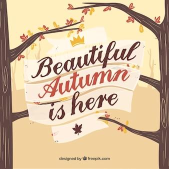Herbst hintergrund mit baum und blätter