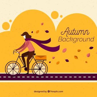 Herbst hintergrund mit fahrrad