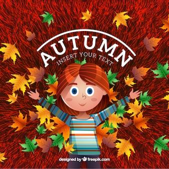 Herbst hintergrund mit niedlichen mädchen und gefallenen blätter