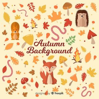 Herbst hintergrund mit verschiedenen elementen
