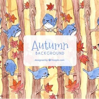 Herbst hintergrund mit vögeln und bäumen