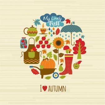 Herbst hintergrund set design-elemente
