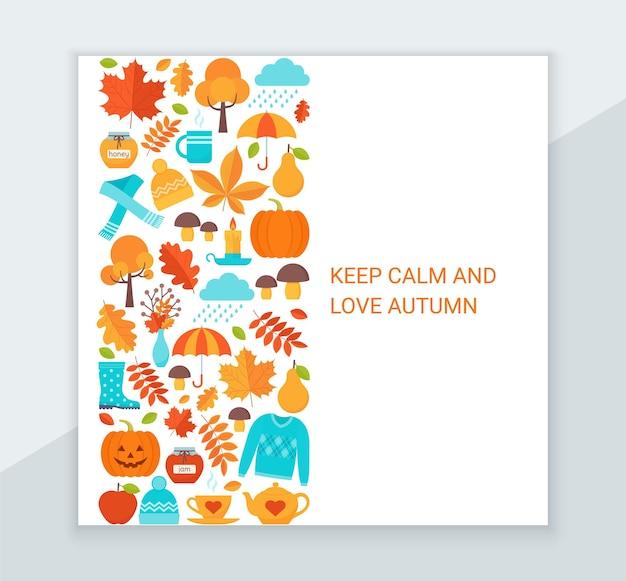 Herbst hintergrund. vektor. hallo herbstgrußkarte. herbstlaub dekoration quadratisches poster.