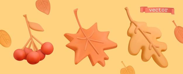 Herbst-icon-set. rote vogelbeere, orangefarbenes ahornblatt, gelbes eichenblatt. 3d-vektor-plastilin-kunstobjekte