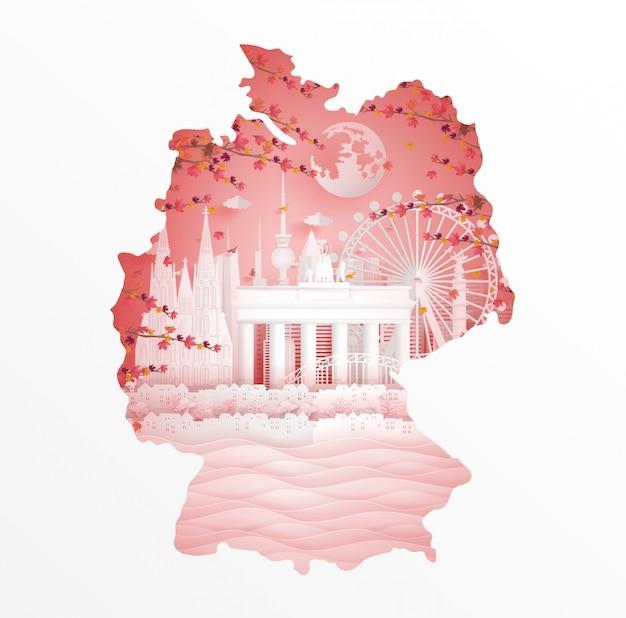 Herbst in deutschland mit ahornurlaubart im jahreszeitkonzept für reisepostkarte