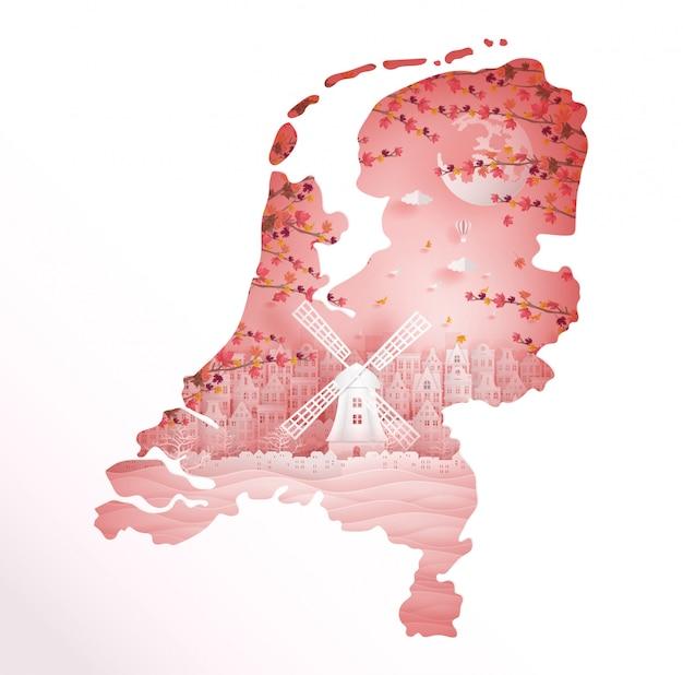 Herbst in holland mit jahreszeitkonzept für reisepostkarte