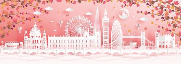 Herbst in london, england mit fallenden ahornblättern und weltberühmten sehenswürdigkeiten