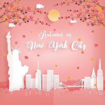 Herbst in new york city und weltberühmte sehenswürdigkeiten
