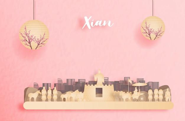 Herbst in xian, china mit laterne der chinesischen art. papierschnitt illustration