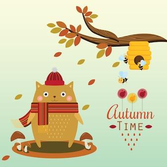 Herbst katze und bienenhaus