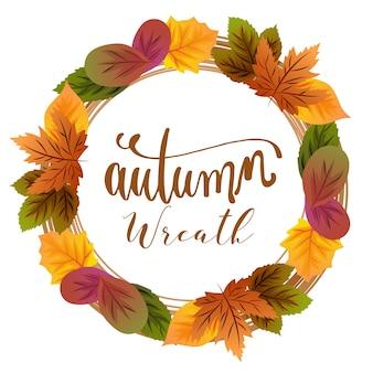 Herbst kranz laub blätter