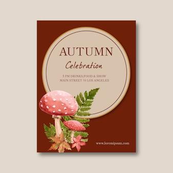 Herbst motto poster mit pflanzen