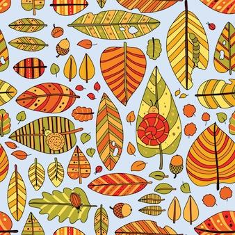 Herbst nahtlose blattmuster. nahtlose dekorative schablonenbeschaffenheit mit blättern