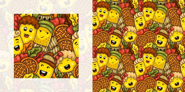 Herbst nahtlose doodle-muster von kindern und eltern mit apfelkuchen