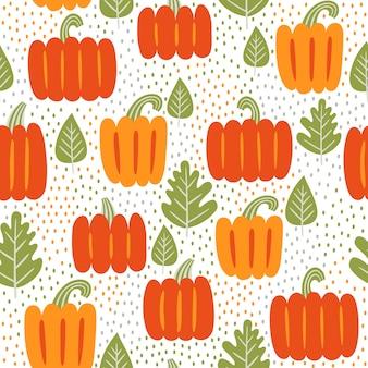 Herbst nahtlose muster. blätter und kürbisse