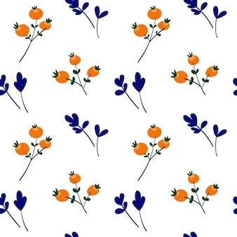 Herbst nahtloser patron mit orangefarbenen beeren und blauen blättern