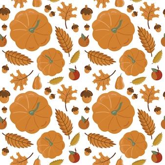 Herbst nahtloses muster mit kürbis.