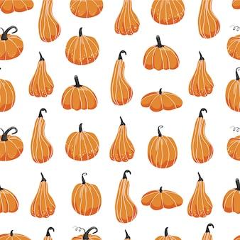 Herbst nahtloses muster. verschiedene formen von kürbissen.