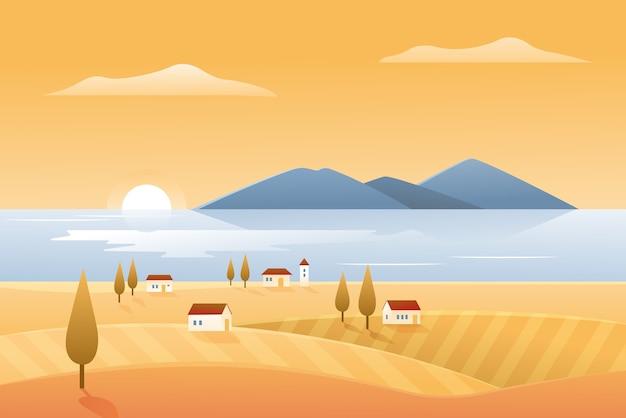 Herbst natur, landschaft küste illustration. karikatur herbstliche landschaftslandschaft mit bauerndorfhäusern am seeufer und an gelben feldern, schöner natürlicher küstenseestückhintergrund