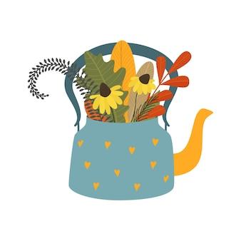 Herbst netter blumenstrauß in der teekanne mit blättern blüht herbstblumenstrauß-flache vektorillustration lokalisiert