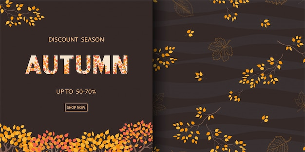 Herbst- oder herbsthintergrund mit nahtlosem muster