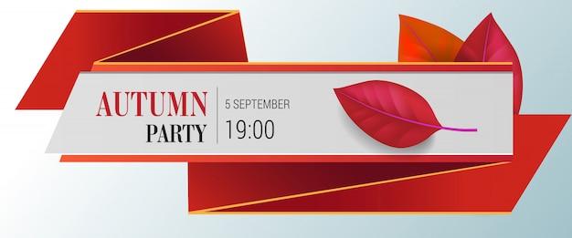 Herbst party schriftzug mit roten blättern. herbstangebot oder verkaufswerbung