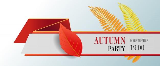 Herbst party schriftzug und helle blätter. herbstangebot oder verkaufswerbung