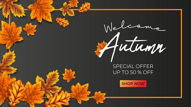 Herbst-promo-verkauf-vektor-illustration schwarzer hintergrund
