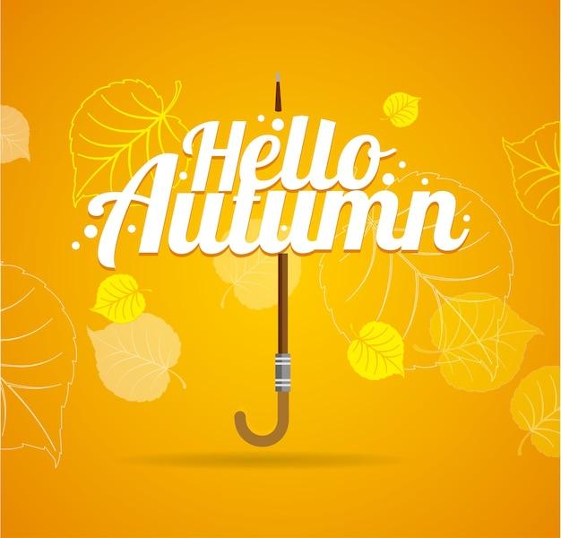 Herbst regenschirm schriftzug konzept. orange hintergrund.