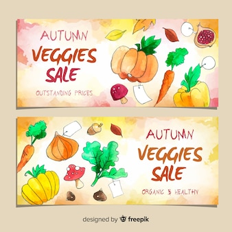 Herbst sale banner aquarell design