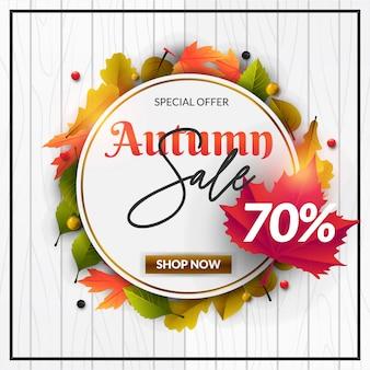 Herbst sale banner mit bunten urlaub