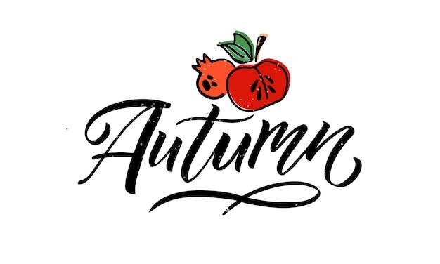 Herbst-schriftzug-typografie-vektor-illustration herbst-symbol und abzeichen oder poster-banner-signatur