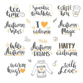 Herbst-schriftzug und kritzeleien vektor-schriftzug isoliert auf weißem hintergrund hallo herbst
