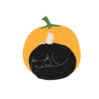 Herbst schwarze katze mit maus und kürbis halloween doodle süßes schlafendes kätzchen haustiere stock-vektor