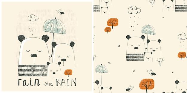 Herbst set nahtlose muster mit print waldtiere bären familiehand gezeichnete vektor illustratio
