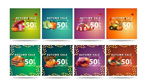 Herbst-superverkauf, satz quadratische bunte rabattbanner im modernen stil mit fallenden ahornblättern und herbstelementen