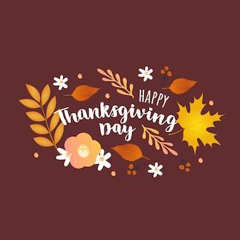 Herbst thanksgiving day handzeichnung schriftzug mit herbstlaub. vorlagen für verkaufsbanner, flyer